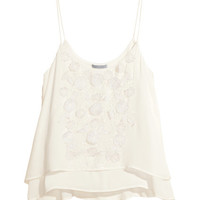 H&M - Embroidered Tank Top - White - Ladies