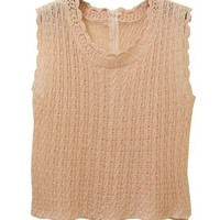 The Waves Crochet Sleeveless Pullovers with Hollow Out