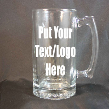 Personalized 24 Ounce Glass Stein, Personalized Beer Stein, Custom Etching, Sand Etching, Large Drinking Glass, Personalized Mug