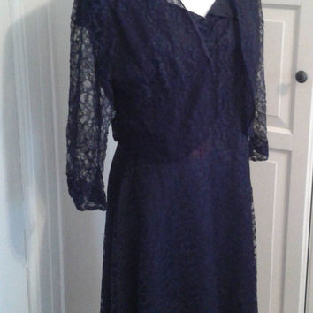 "50s Lace Dress, Illusion Back, Cocktail, Party, Split Collar, Bolero Jacket, Cap Sleeves, Size M/L, 38"" Bust"