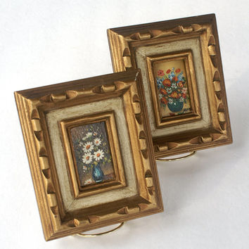 Miniature Floral Oil Painting Reproductions in Ornate Gold Painted Wood Frames