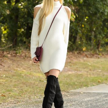 Second Look Ivory Sweater Dress