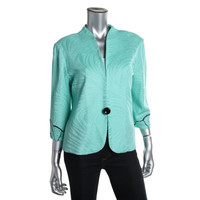 Ming Wang Womens Petites Textured Embroidered Collarless Blazer