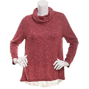 Juniors Poof! Brushed Knit Cowl Neck Long Sleeve Sweater