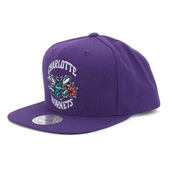 ONETOW Charlotte Hornets Mitchell & Ness Vintage Basic Logo Purple Snap Back Hat