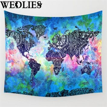 New oWorld Map Indian Mandala Wall Hanging Tapestry Throw Blanket Mat Cloth Home Living Room Dorm Art Wall Decorative Textiles