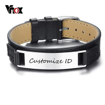 Vnox New Stylish Men's Black Genuine Leather Bracelet Free Engraving 12MM Personalized ID Pulseira Masculina Length Adjustable