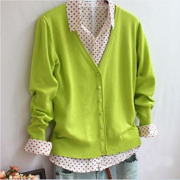Women's Cardigans Colored Wool