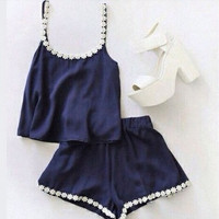 Navy Blue Floral Trim Two Piece Set B005155