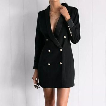 CD321 Fashion Full Sleeve Double Breasted Slim Long Suits Women Solid Stylish Office Notched 2017 New Suit Women Business Suits