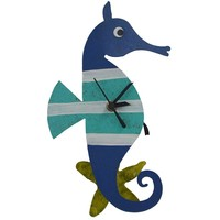 Oxidos Handmade Seahorse Wall Clock with Swinging Pendulum Starfish