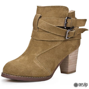 Buckle Faux Leather Ankle Booties