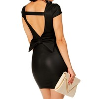 Black Bow Back Sheath Dress