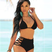 2017 Trending Fashion Women High Waisted Two-Piece Solid Bikini Swim Suit Beach Bathing Suits Swimwear