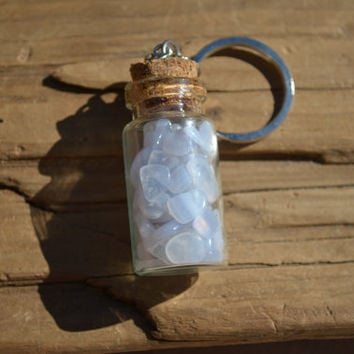 Small Blue Lace Agate Stones in a Vial Keychain
