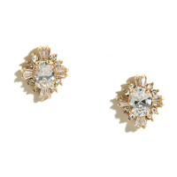 Fascinating Find Gold Rhinestone Earrings