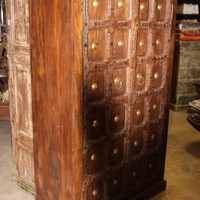 Antique Vintage Indian Hand Carved Armoire Storage Cabinet Brass Medallion Old Teak Wardrobe