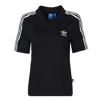 adidas Originals Three Stripe Polo Neck T-Shirt