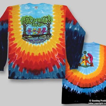 Grateful Dead Bears in the Woods LONGSLEEVE Tie Dye Shirt Size Medium or 2XL