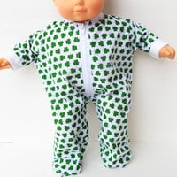 "bitty baby clothes Handmade Twin boy, Girl or Baby Doll Doll 15"" White & Green Irish Shamrock print zip up feetie pajamas pjs sleeper spring"