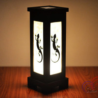 Thai Vintage MDFL Black Lizard Home Lighting Furniture Bedroom Decorate Mulberry Paper Lamp Handmade