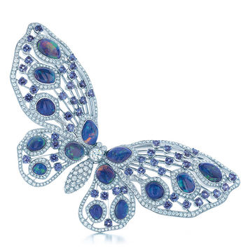 Tiffany & Co. - Butterfly brooch in platinum with diamonds, Montana sapphires and black opals.