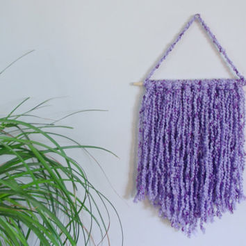 Purple Wall Hanging Purple Home Decor Baby Girl Nursery Decor Purple Nursery Wall Hanging Yarn Wall Art Nursery Wall Mobile Girls Room Decor