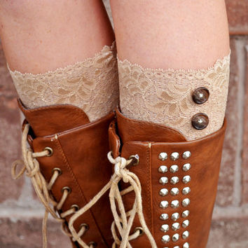 Lace Boot Cuffs - Faux Lace Boot Socks - Faux Lace Leg Warmers - Lace Boot Topper - Boot Topper - Faux Knee High Sock - Womens - Beige