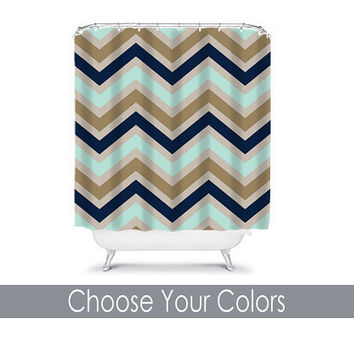 CUSTOM You Choose Colors Navy Gold Beige Tan Aqua Chevron Bathroom Bath Shower Curtain Polyester Made in the USA