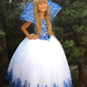 White Blue Flower Girls Dress- Birthday Wedding Party Bridesmaid Blue and White Tulle The Snow Queen's Dress