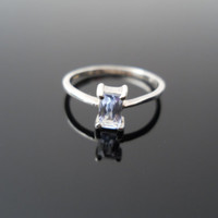 Blue Topaz Ring, Silver Ring, Pinky Ring, Sterling Ring, Size 3 Ring, 925 Ring, 925 Topaz Ring, Child Ring, Blue Stone Ring, Silver Topaz