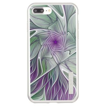 Flower Dream, Abstract Purple Green Fractal Art Incipio DualPro Shine iPhone 7 Plus Case