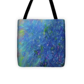 Blue Flowers Abstract - Tote Bag