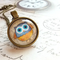 Owl pendant necklace, Owl jewelry, Glass dome pendant, Owl lover gift, Owl accessories, Owl decor