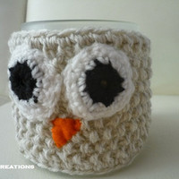 Mug Cozy, Owl Mug Cozy, beige color, Knitted Owl Coffe Cup Cozy, Night Owl ,Valentines gifts