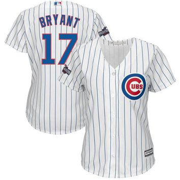 Women's Chicago Cubs Kris Bryant Majestic Home White/Royal 2016 Postseason Patch Cool Base Player Jersey