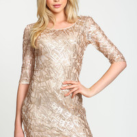 Gold Sequin Confetti Bodycon Dress