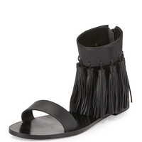 Loeffler Randall Lark Leather Tassel Sandal, Black