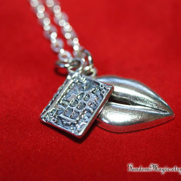Is This a KISSING BOOK Necklace, Lips and Book Charm, Princess Bride Classic Tale, From Fandom Magic