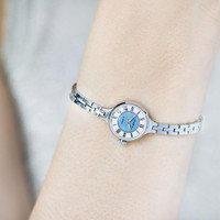 Cocktail watch jewelry blue face watch bracelet vintage. Woman watch Seagull small gift. Roman numerals petite lady watch for small wrist