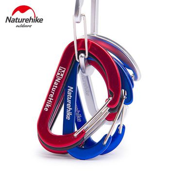 4PCS Naturehike Assorted Colors Aluminum Carabiner Clip D Shape Spring Buckle Keychain for Home,Camping,Hiking and Traveling