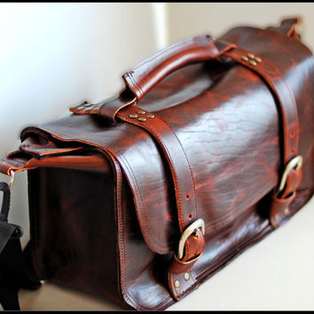 Unisex Leather doctor bag travel bag DSLR Camera by sizzlestrapz