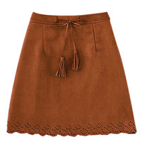Brown Mid Waist Zippered Mini Pencil Skirt