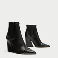 HIGH HEEL LEATHER ANKLE BOOTS WITH ELASTIC SIDE TABS DETAILS