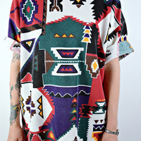 VTG 90s Grunge Ribbed Native Aztec Print Tunic Shirt Dress