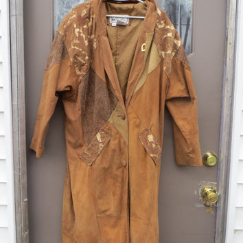 vintage 80s womens genuine  brown leather and patchwork long duster  / coat  sz med  boho WESTERN   coat