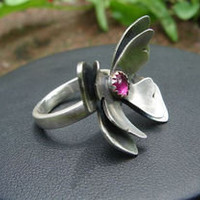 Sterling silver butterfly ring with pink ruby