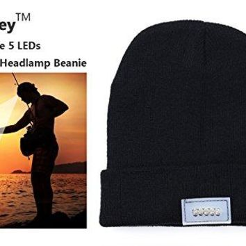 UltraKey Outdoors Headlamp Beanie - 5 Bright Integrated Leds Unisex - Great for Camping, Sports, Jogging, Walking, Grilling, Outdoor Activities, Party, Holiday - One Size Fits Most (Black)