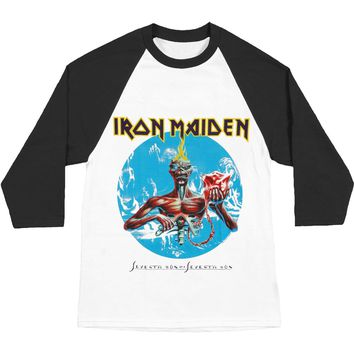 Iron Maiden Men's  Seventh Son Baseball Jersey Black & White