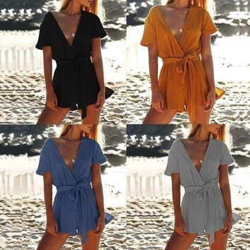 Fashion Womens Sexy V neck Straps Casual Coveralls Bandages Jumpsuit Lady Rompers